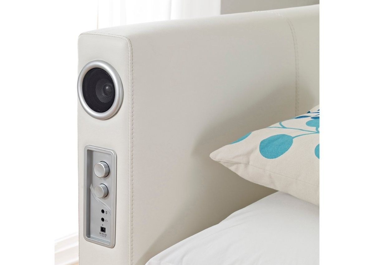 Sound Leather Bed. Featuring built-in stereo speakers and subwoofer. Connect to your MP3 device, iPhone or iPad!