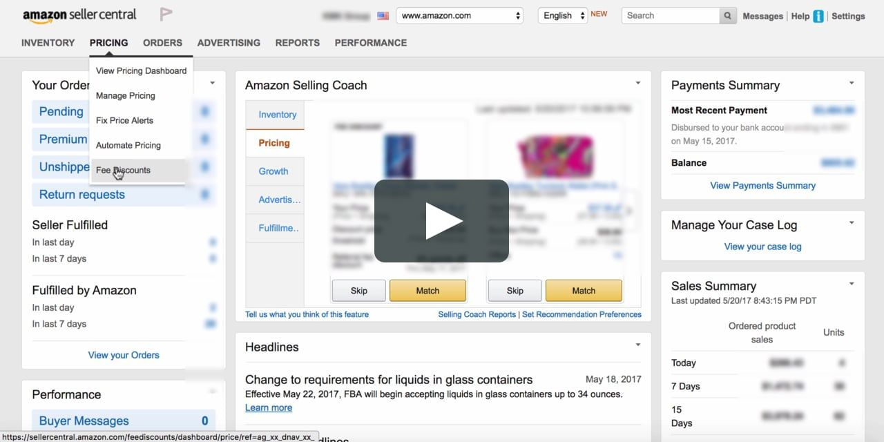 seller central amazon homepage