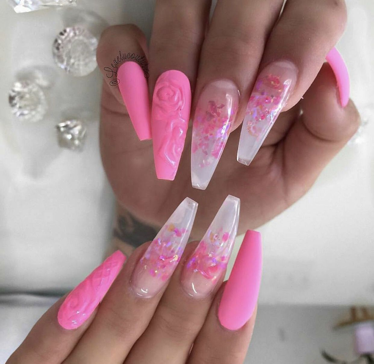 Long fluorescent neon pink coffin nails | Nails | Pinterest | Coffin ...