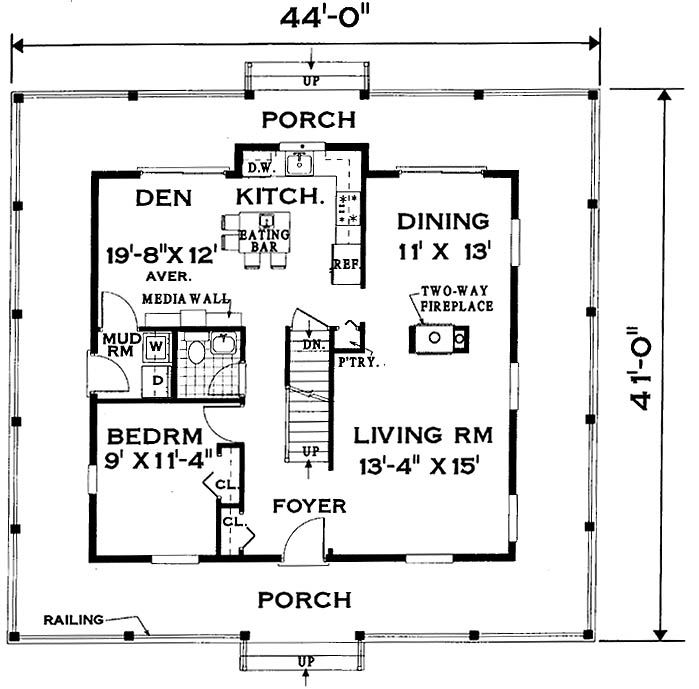 Wrap around porch home 7005 4 bedrooms and 2 baths the for 4 bedroom house plans with front porch