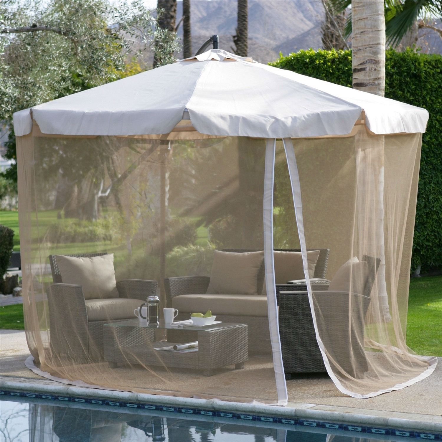 Modern 11 Ft Cantilever Offset Patio Umbrella In Tan With Removable Netting