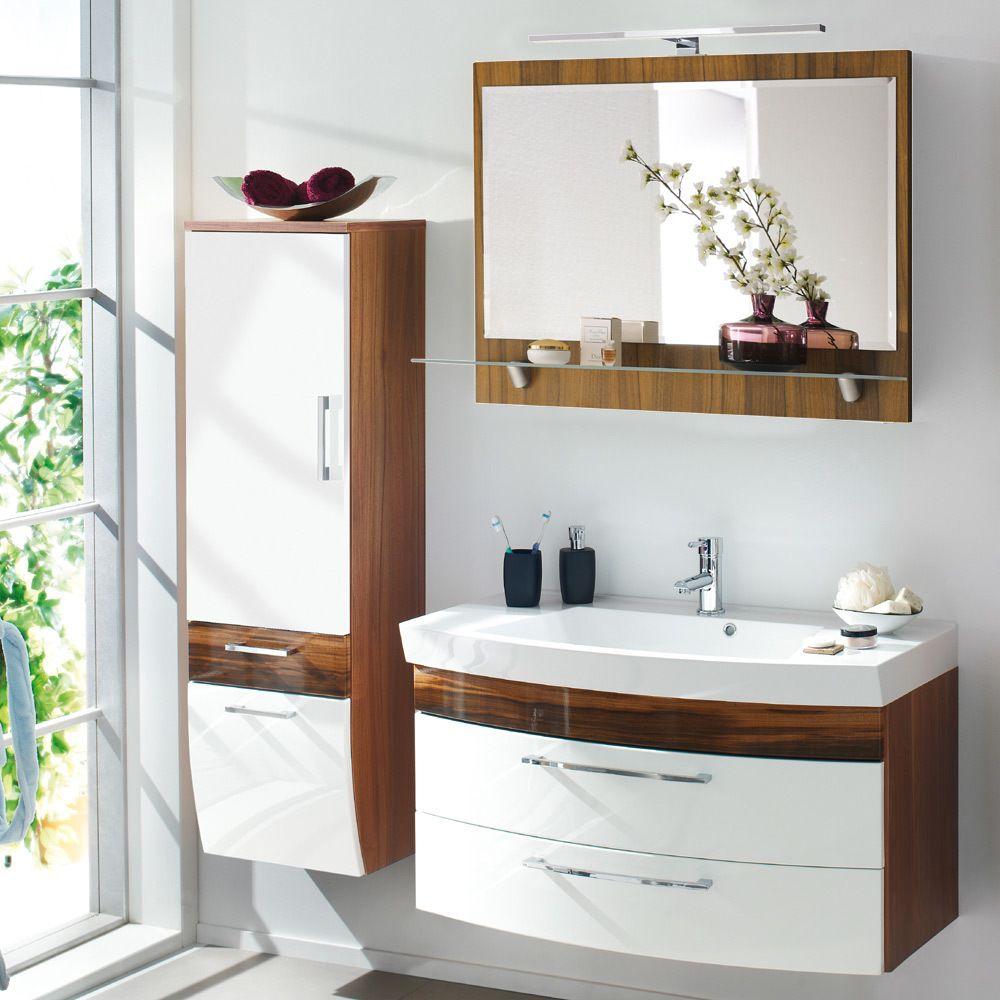 Badezimmer-dekor-sets badmöbel set verona in hochglanz weiss  walnuss dekor jetzt