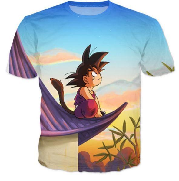 299d033f6 DBZ Cute Kid Goku Sitting Sky All Over Print T-Shirt   Saiyan Stuff ...