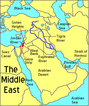 This is a physical feature map of the Middle East. It relates to ...