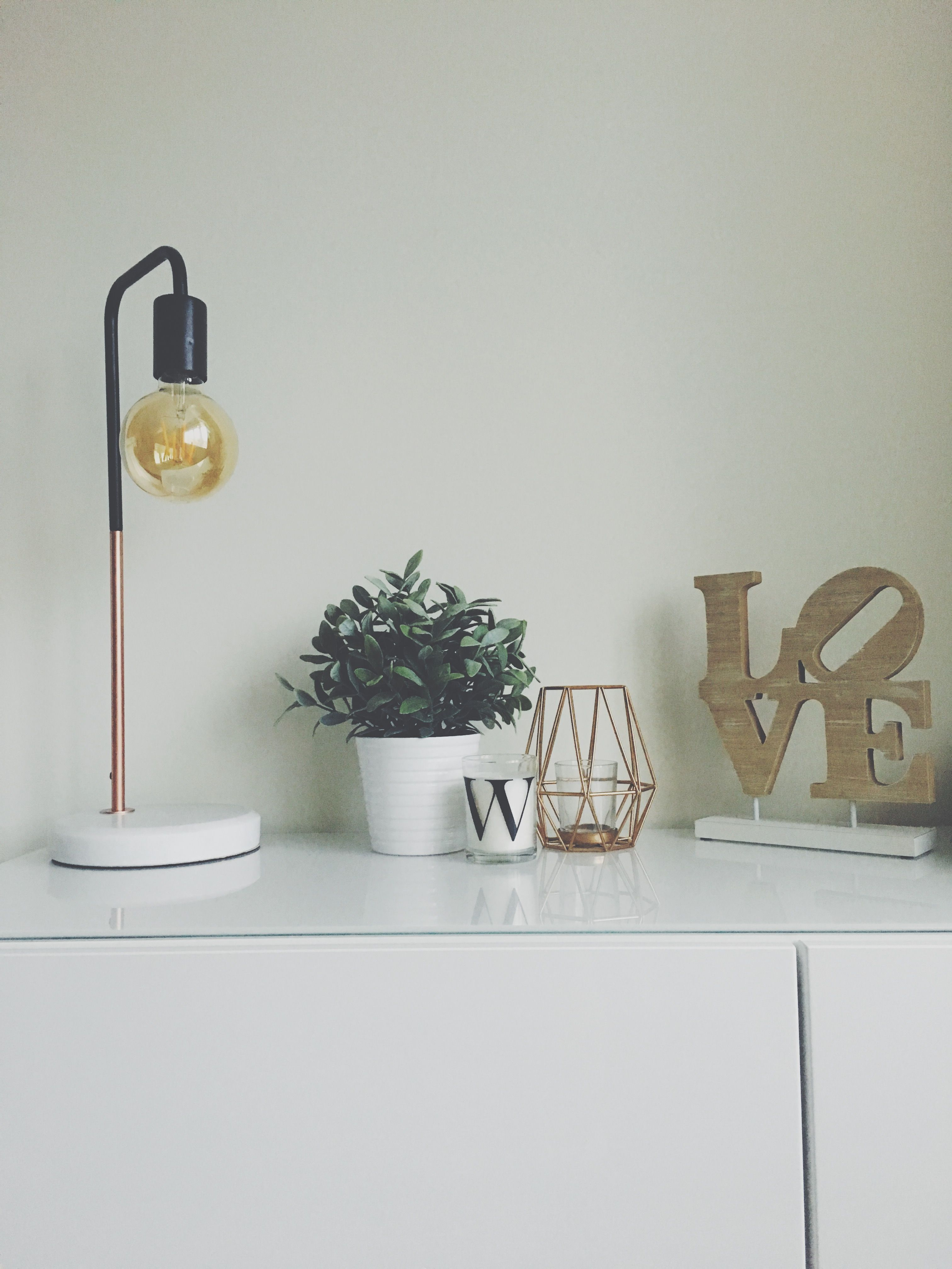 Minimal Sideboard Styling Aldi Lamp Indoor Plant Candle Copper