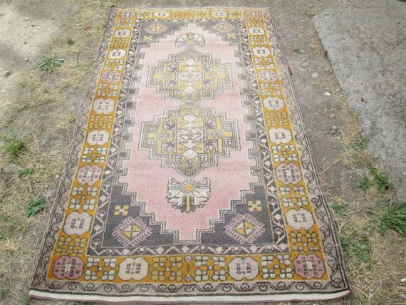 Faded Violet Color Rug Vintage Oushak Rug Turkish Kilim Rug Handwoven Old  Patterned Rug Peerless Rug Size: 9 X 6 Feet Oushak Rug