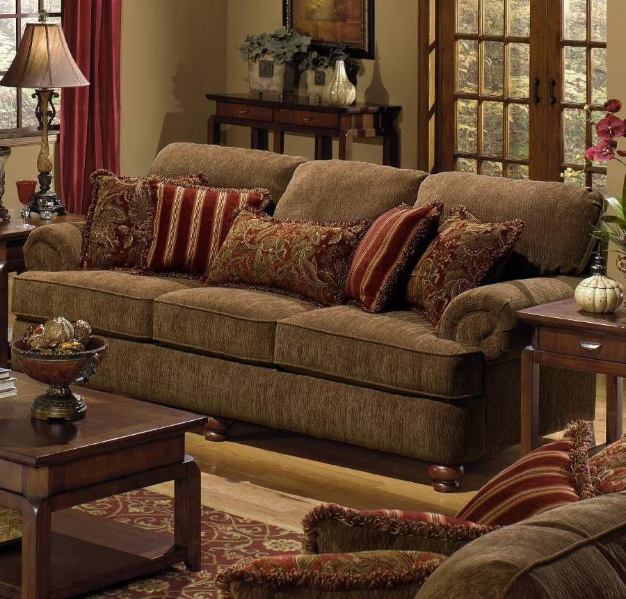Furniture , Durable Chenille Sofa : Belmont Umber Chenille