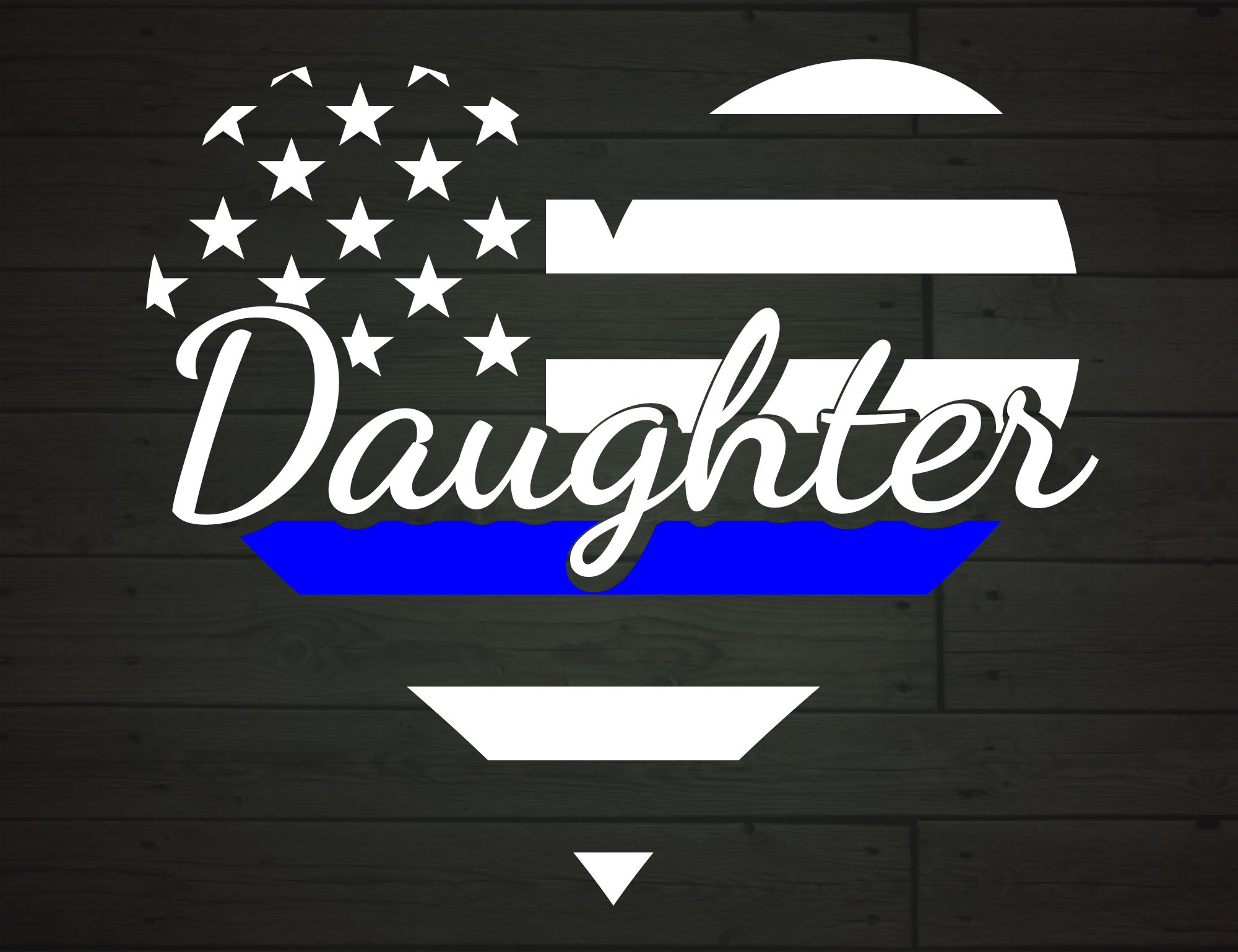 Police Daughter Heart Thin Blue Line (Graphic) by
