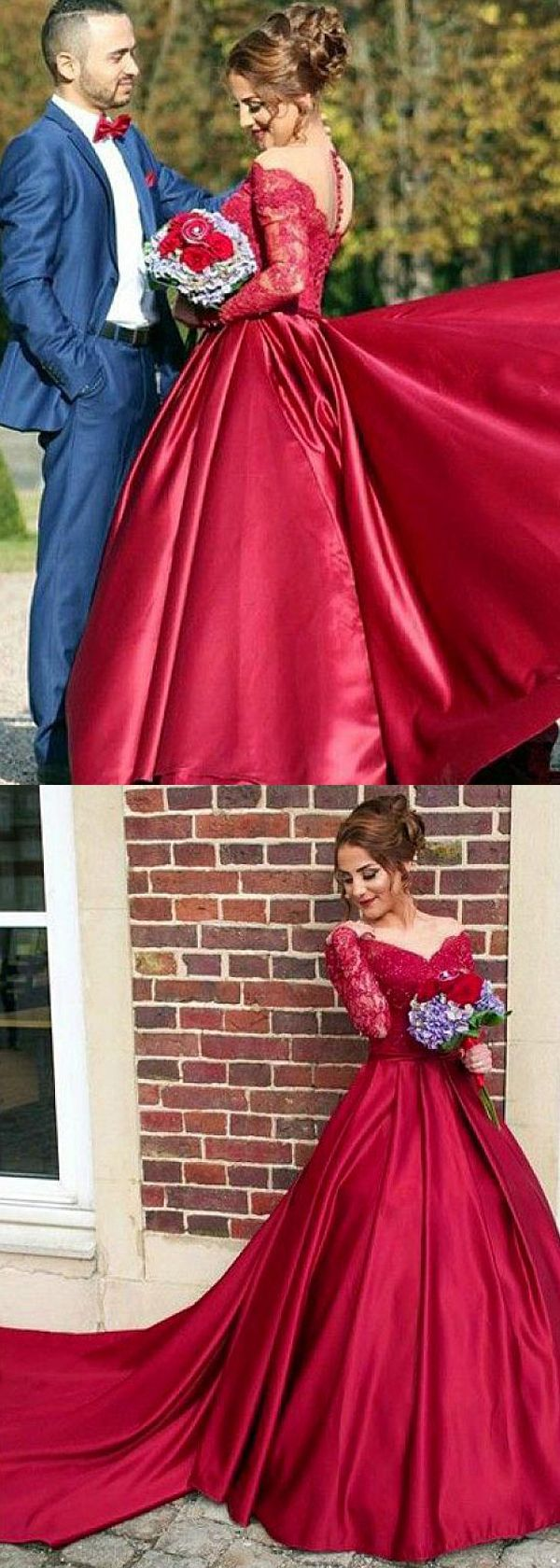 Attractive satin bateau neckline long sleeves ball gown prom dress