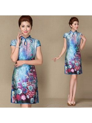 traditional chinese clothing traditional chinese dress Blue stretchable wrinkled silk floral cheongsam dress Qipao