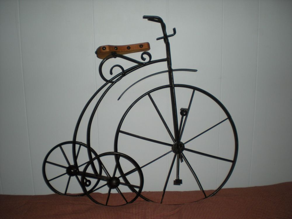 Vintage Wall Art Wrought Iron High Wheel Tricycle With Wood Seat Rivets Unbranded Vintageoldfashionedtricycle Vintage Wall Art Wrought Iron Vintage