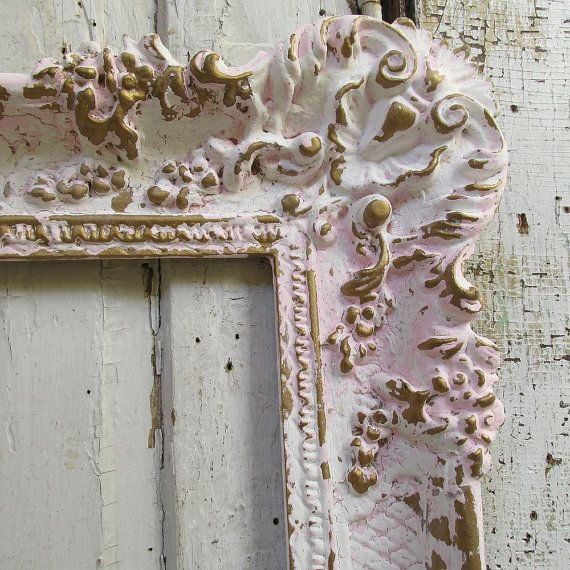 Hand painted picture frame wall hanging pink w/ white ornate shabby cottage chic large vintage distressed home decor anita spero design This is