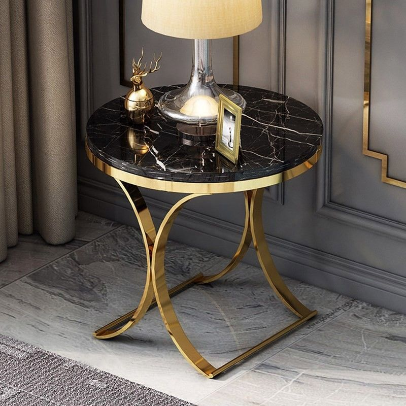 Modern Luxurious Round Black White Faux Marble Side Table X Base End Table In Gold In 2020 Marble Side Tables End Tables Round Coffee Table Modern