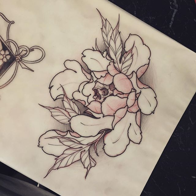 43 Japanese Peony Tattoos Collection: This Peony Skull Thing Is Available To Tattoo!! I Have