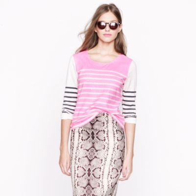 J.Crew garment-dyed colorblock stripe top