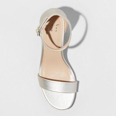 c32b791a1148 Women s Micahela Satin Wide Width Mid Block Heel Pump Sandal - A New Day  Champagne (Beige) 6.5W