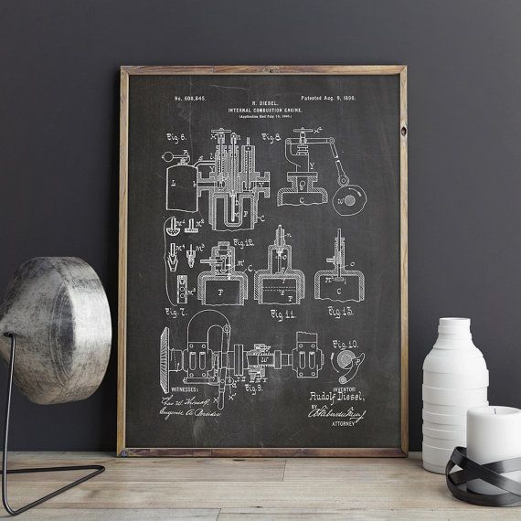 Diesel engine patent engine printable engineer art car printable diesel engine patent engine printable engineer art car printable car engine art diesel blueprintdiesel engine poster instant download malvernweather Choice Image