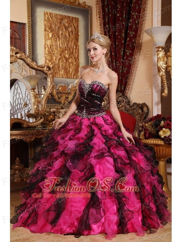 black and red ruffled ball gowns