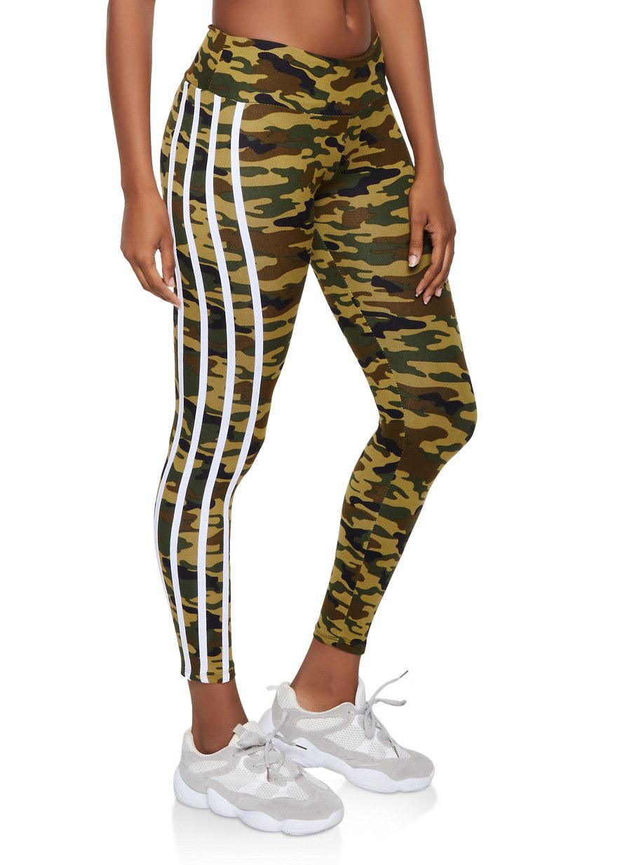 Camo Varsity Stripe Leggings - Green - Size S #stripedleggings
