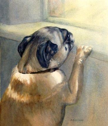Wanderlust Watercolor Painting Pug Dog Pet Art Original Art