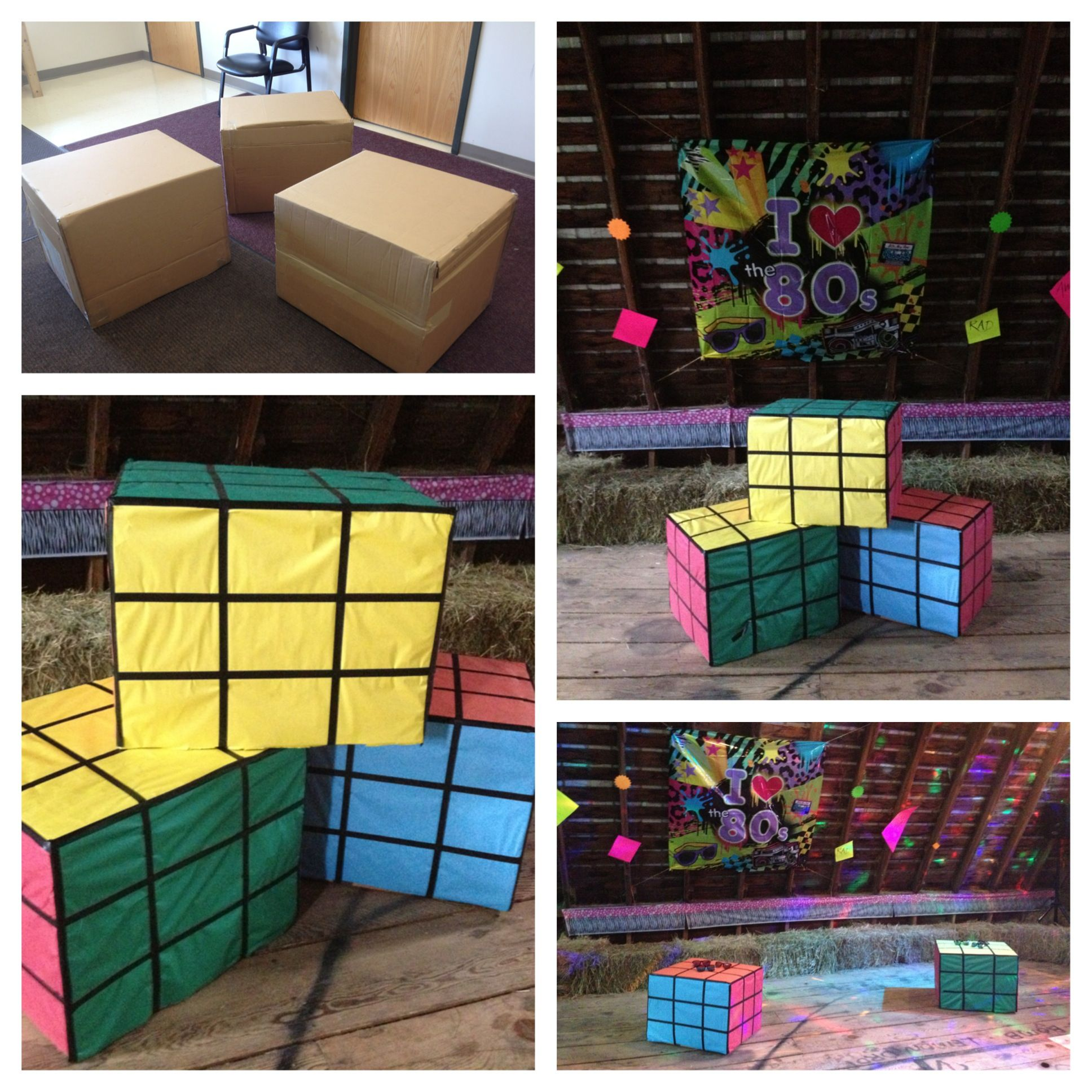 Delightful 80s Theme Party Ideas Decorations Part - 10: Birthday Party Ideas · I Made These Rubics Cube Cocktail Tables From  Cardboard Boxes. They Were Used To Decorate · 80s Theme ...