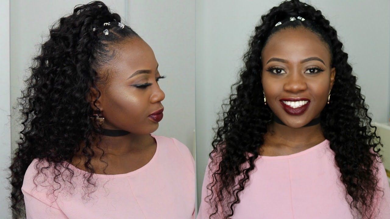 Half Up Half Down Quick Weave Hairstyle On Short Natural 4c Hair