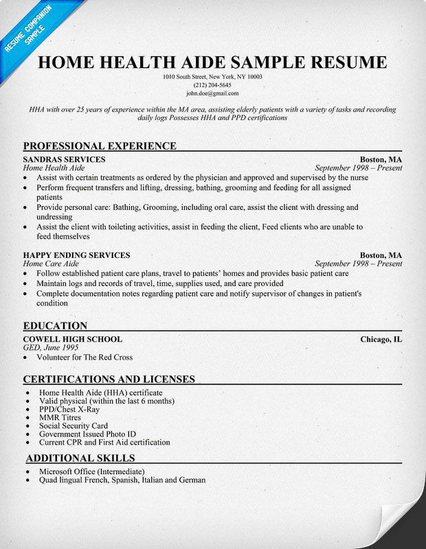 home health aide resume example       resumecompanion