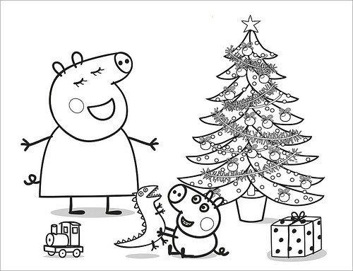 Dibujos de Peppa Pig para Colorear, Pintar e Imprimir | Navideña