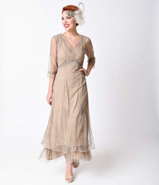 Nataya Vintage Style Sand Beige Tulle Edwardian Dress | Hennoch ...