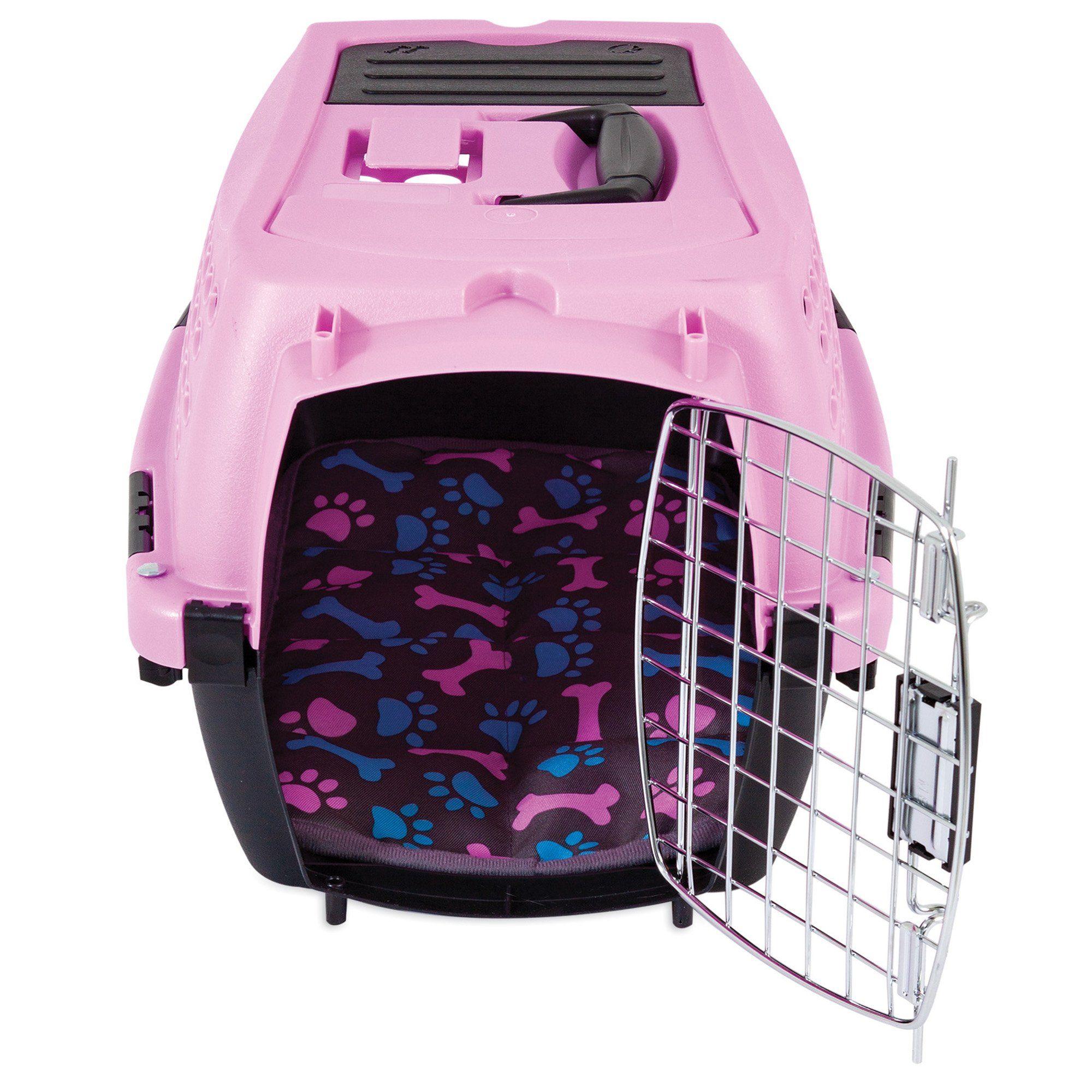 Petmate 1 Door W Matching Paw Print Mat Pink Dog Kennel 19 L X