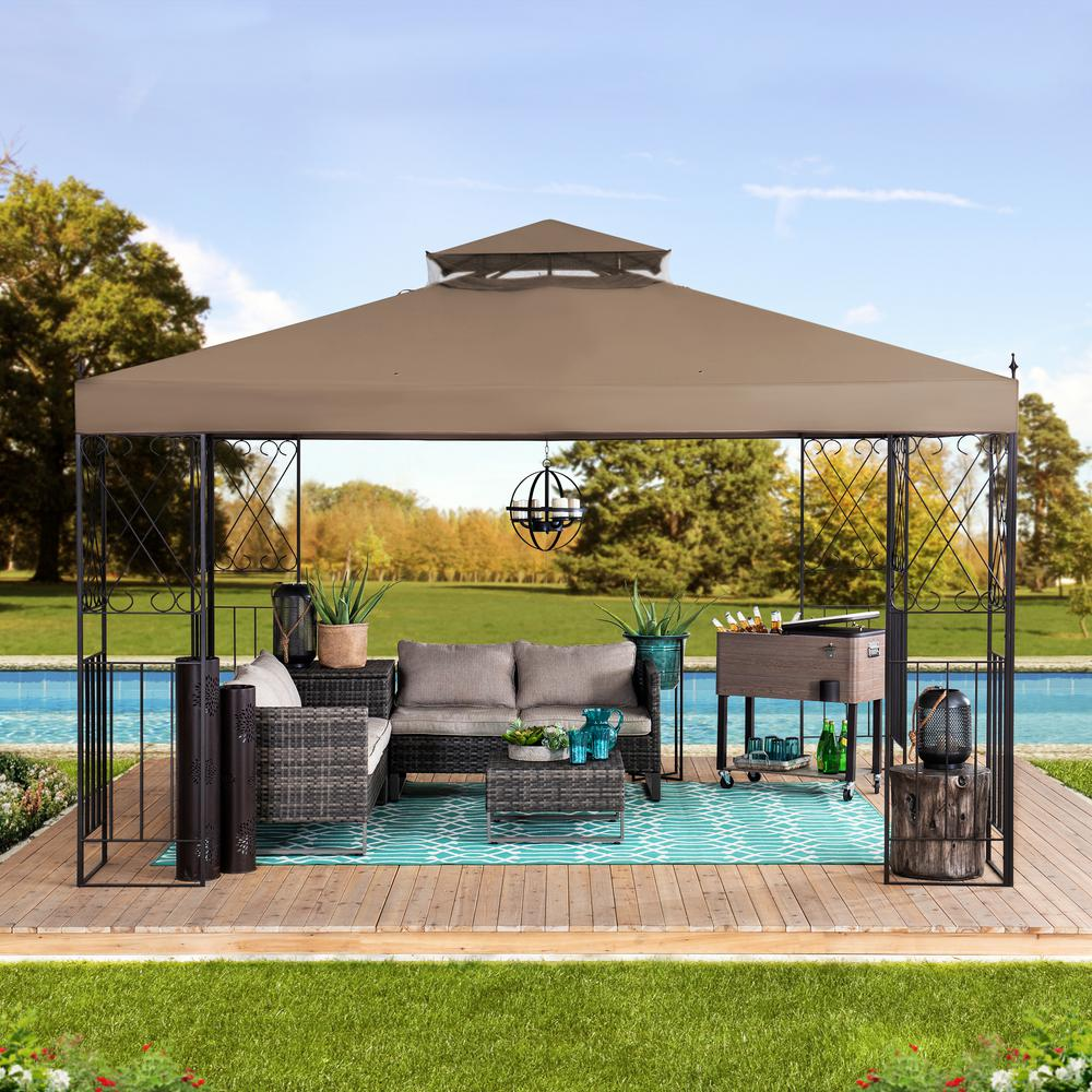 Hampton Bay Harper 10 Ft X 10 Ft Steel Hardtop Gazebo L Gz680pst M The Home Depot Hardtop Gazebo Gazebo Patio Gazebo