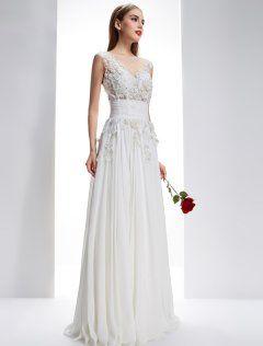 249820267b53 Utsökta A-line Fyrkantig Ringning Borrat Spets Blommor Backless Chiffong  Bröllopsklänning