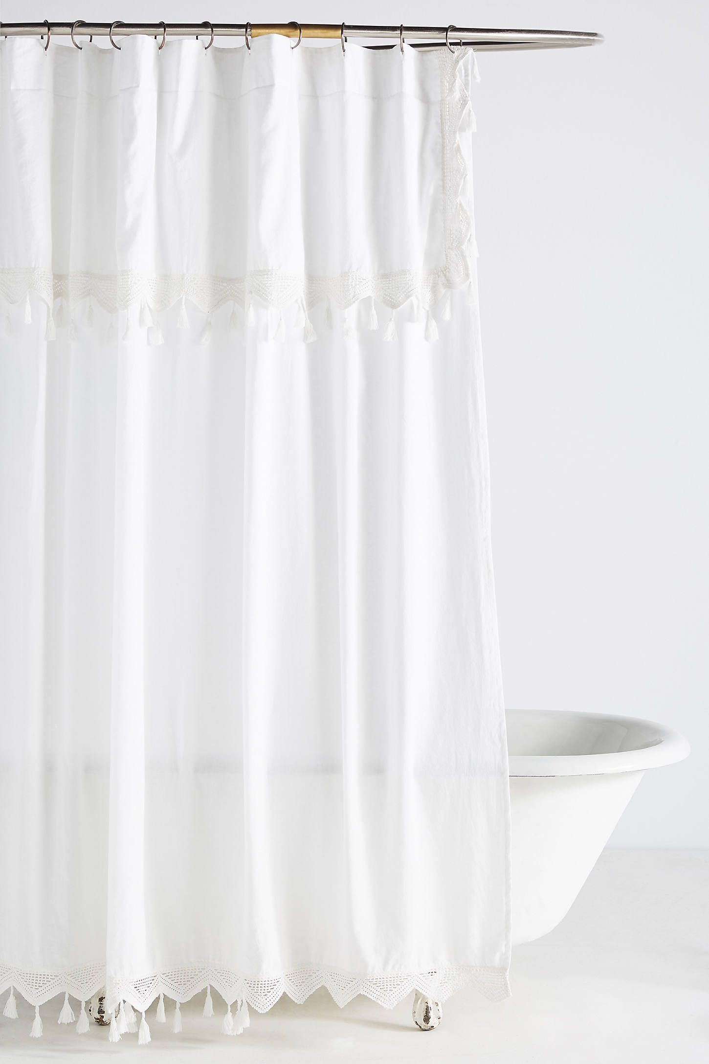 Tasseled Antioch Shower Curtain Curtains White Shower Grey