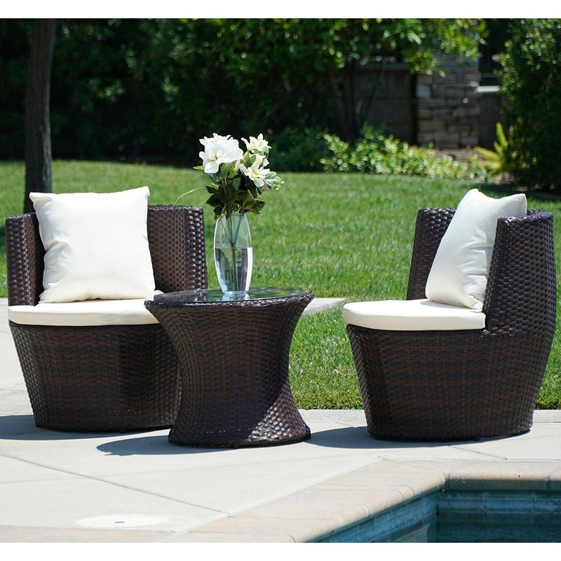 Helvey 3 Piece Conversation Set With Cushions Outdoor Furniture Sets Patio Set Conversation Set Patio