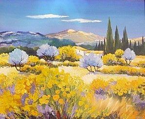 Paysage Provencal Paysage Jaune Peinture Paysage Et Peinture De