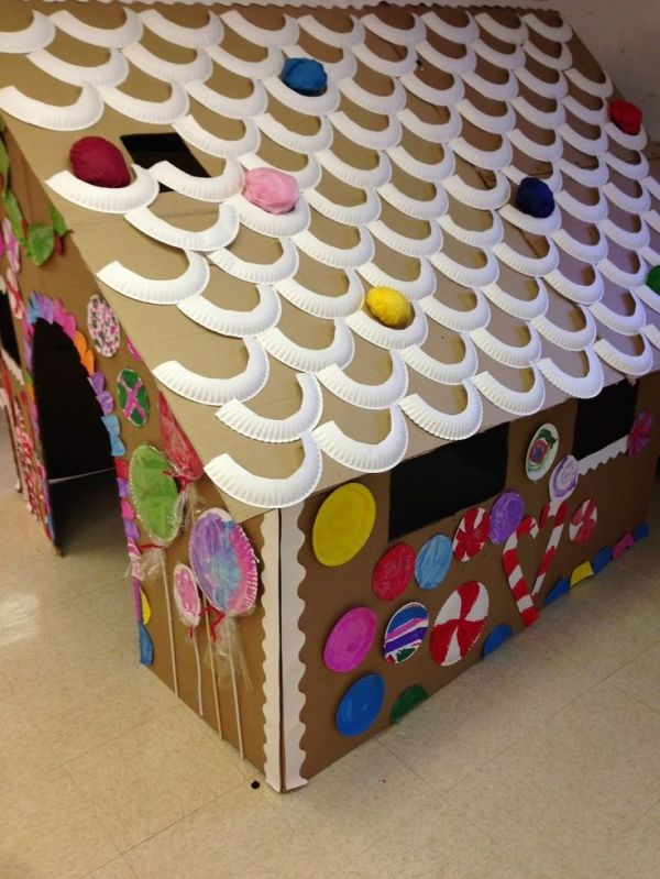 Cardboard Craft Boxes To Decorate Lifesize Gingerbread House  A Fun Winter Activity For Kids Using