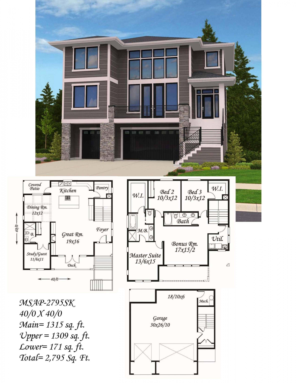 Hillside Modern Contemporary House Plan By Mark Stewart Contemporary House Plans Modern House Plans Modern Contemporary House Plans