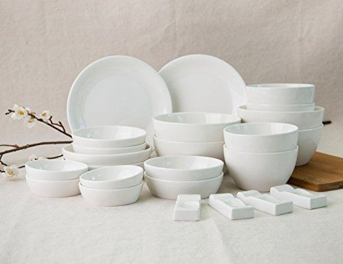 Potterier 24-Piece Korean Dinnerware Set Cream White Service for 4 & Potterier 24-Piece Korean Dinnerware Set Cream White Service for 4 ...