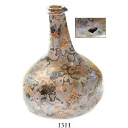 Glass  onion  bottle with beautifully marbled exterior (intact except for small pit).