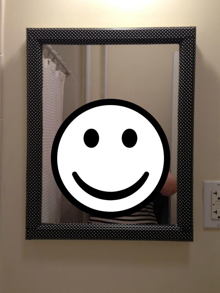 Polka dot craft tape (from Paper Source; see link in Crafty Bits board) makes for a quick and easy bathroom mirror update. Took me about 20 minutes.