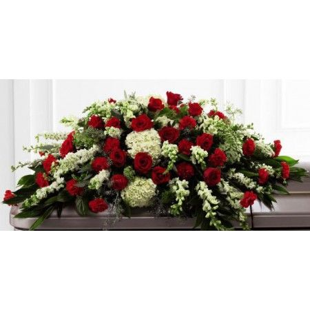 Funeral flower casket spray of red roses with assorted ...