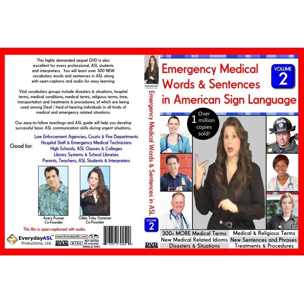Emergency medical words sentences in american sign