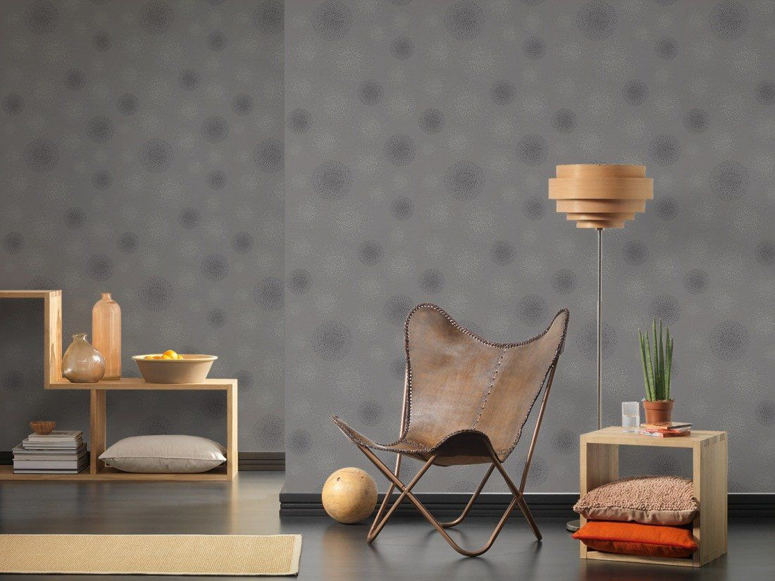 Dotted Spots Wallpaper In Grey Design By Bd Wall Living Room
