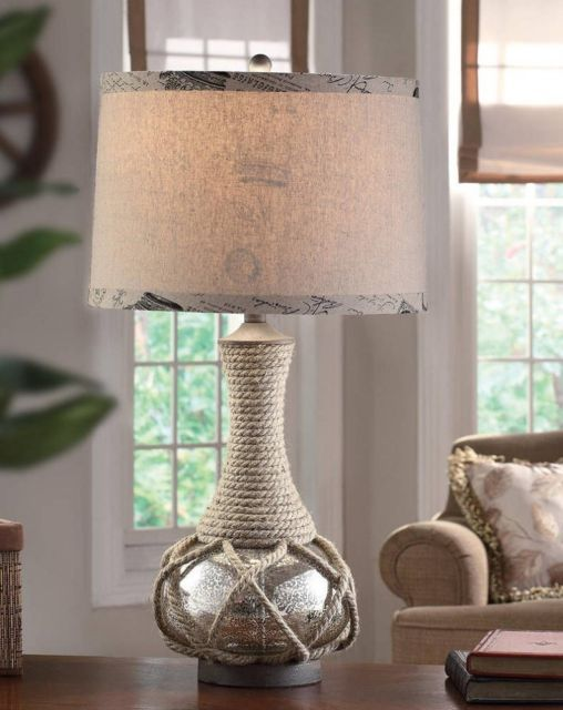 nautical coastal rope and mercury glass table lamp.