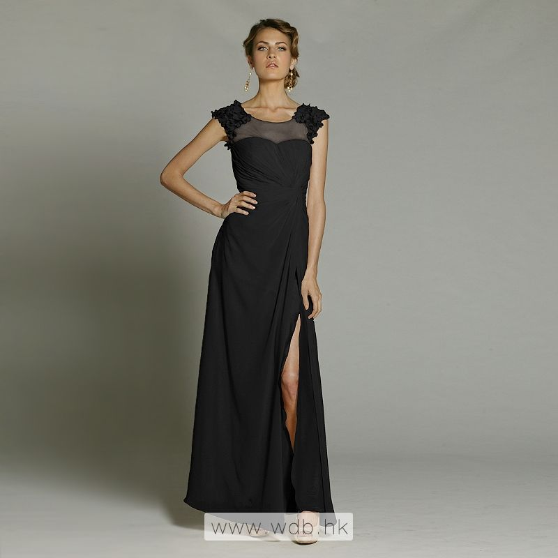 """petal decorate illusion neck meet sweetheart chiffon floor-length dress $138"""