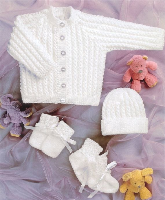 309e6d0aa5e5 BHKC 35 Vintage baby knitting pattern newborn cardigan hat mittens ...