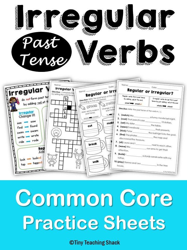 Irregular Past Tense Verbs NO PREP Practice Sheets L.2.1.d ...