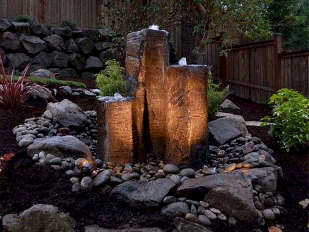 25 Most Beautiful Rock Garden Waterfalls To Increase Your Garden Beauty Freshouz Com Backyard Water Fountains Water Fountains Outdoor Water Features In The Garden