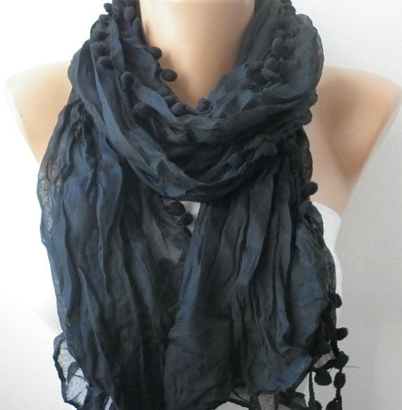 Black  Women Shawl Scarf  Headband Necklace Cowl by fatwoman, $13.50