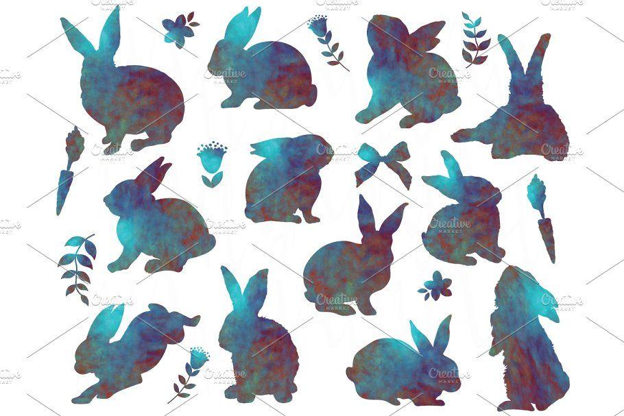 Watercolor Bunny Silhouette Bunny Silhouette Rabbit Silhouette Watercolor